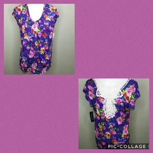 Floral Print Tunic Top with Lace Back Insert  - L